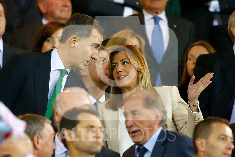 King Felipe VI of Spain and the President of Andalucia Susana Diaz during Spanish Kings Cup Final match. May 22,2016. (ALTERPHOTOS/Acero)