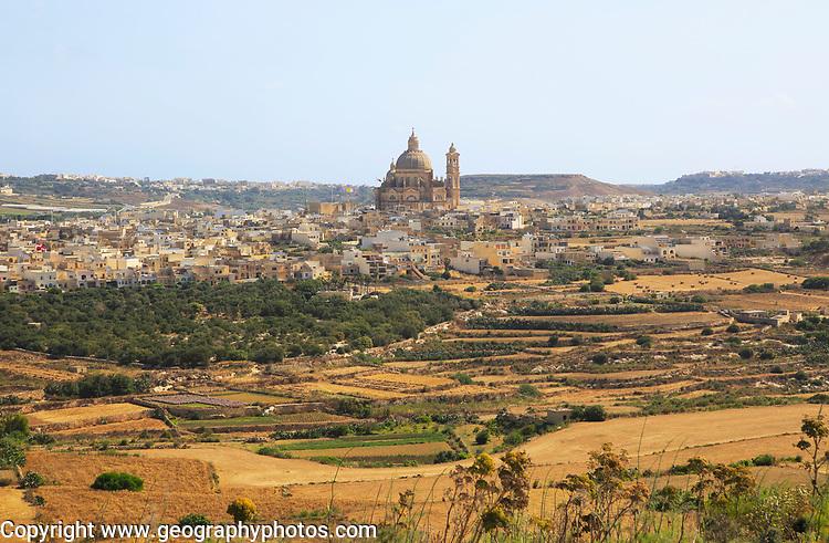 Rotunda domed roof of church of St John the Baptist, village of Xewkija, island of Gozo, Malta