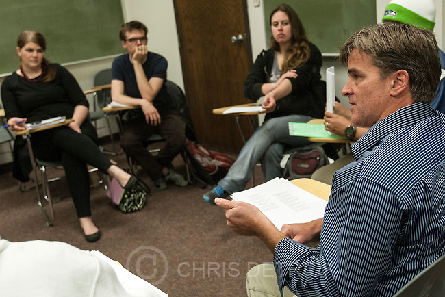 Chris Detrick  |  The Salt Lake Tribune.Maximilian Werner teaches the class 'Writing about War' at the University of Utah Tuesday April 17, 2012.