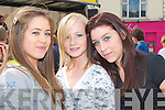 FUN TIME: Having fun at the KDYS Fall Festival in Tralee Town Square on Sunday l-r: Tara Buckley, Brogan O'Grady and Susan McMahon from Lixnaw..