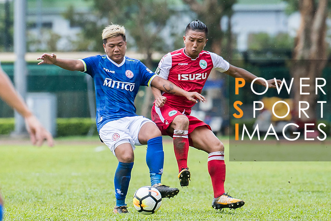 Michael Luk Chi Ho of Kwoon Chung Southern (R) fights for the ball with Cheuk Hin Lau of Rangers (L) during the Premier League, week two match between Kwoon Chung Southern and BC Rangers at on September 09, 2017 in Hong Kong, China. Photo by Marcio Rodrigo Machado / Power Sport Images