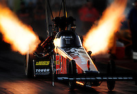 Jan 25, 2009; Chandler, AZ, USA; NHRA top fuel dragster driver Cory McClenathan launches off the starting line during testing at the National Time Trials at Firebird International Raceway. Mandatory Credit: Mark J. Rebilas-