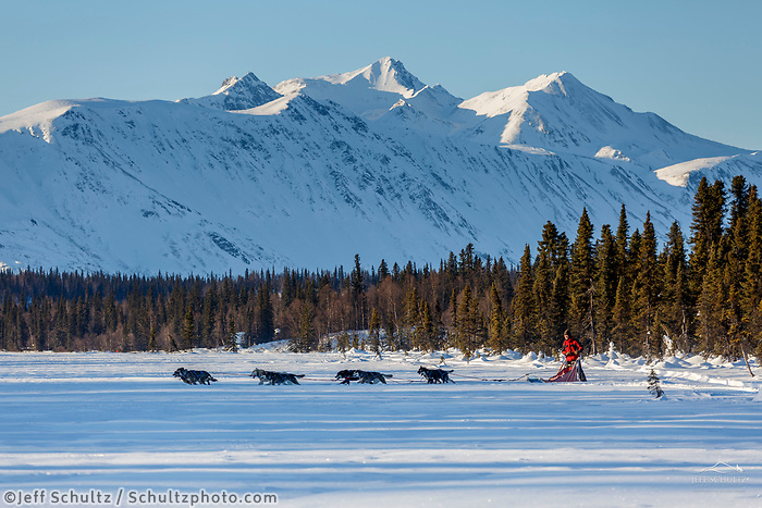 Recreational dog mushing ride on Finger Lake at Winterlake lodge in southcentral, Alaska.  Winter<br /> Photo by Jeff Schultz/SchultzPhoto.com  (C) 2018  ALL RIGHTS RESERVED