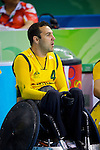 Australia's Cameron Carr urges on his team matesin the semi final of the Wheelchair Rugby at the USTB Gymnasium at the Paralympic games, Beijing, China 15th September 2008