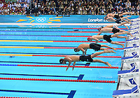 August 01, 2012..LtoR: Japan's Ryo Tateishi, Japan's Kosuke Kitajima, Great Britain's Andrew Willis, Michael Jamieson, Hungry's Daniel Gyurta, USA's Scott Welltz, Clark Burckle and Australia's Brentn Rickard push off the block to compete in Men's 200m Breaststroke Final at the Aquatics Center on day five of 2012 Olympic Games in London, United Kingdom.