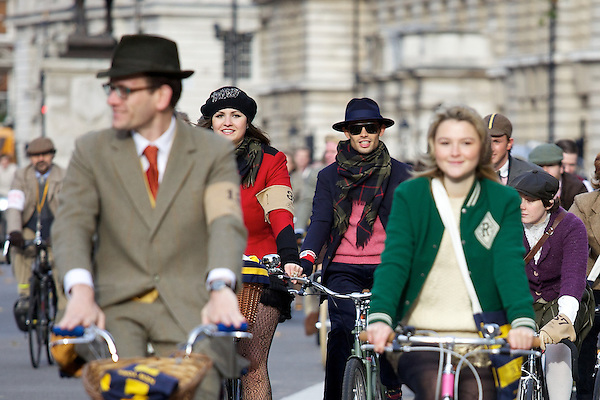 Gabilicious, Mark-Francis Vandelli, Amber Atherton and Francis Boulle from Made in Chelsea cycling on The Tweed Run, London