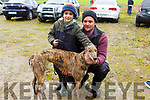 Mark and Jack Kennedy from Castlemaine and their dog Kiaras Call Now at the Castleisland Coursing meeting on Monday.
