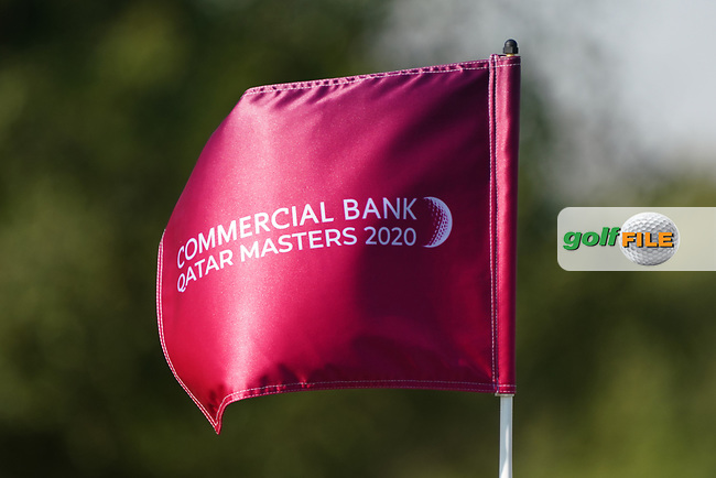Commercial Bank Qatar Masters 2020 flag during the Pro-Am of the Commercial Bank Qatar Masters 2020 at the Education City Golf Club, Doha, Qatar . 04/03/2020<br /> Picture: Golffile | Thos Caffrey<br /> <br /> <br /> All photo usage must carry mandatory copyright credit (© Golffile | Thos Caffrey)
