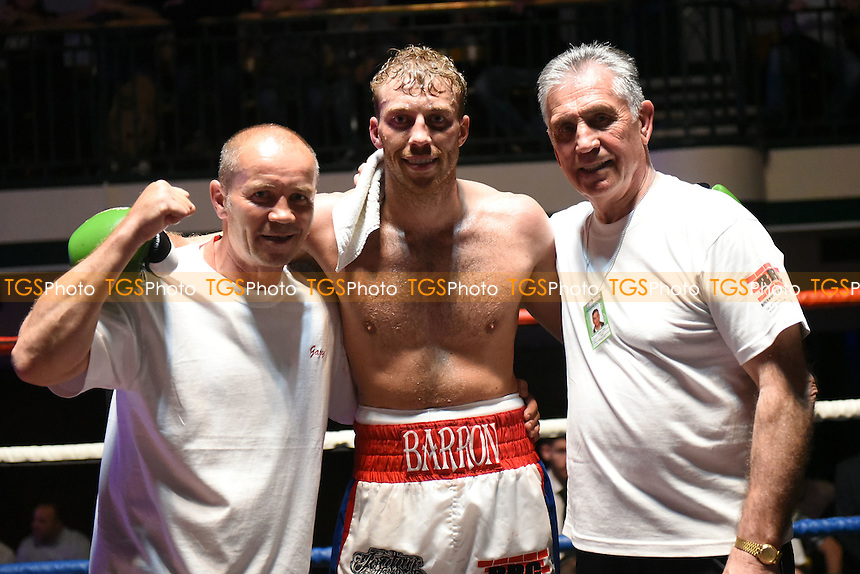 Sam Barron (white/red/blue shorts) defeats Josef Onselo during a Boxing Show at York Hall on 7th May 2016