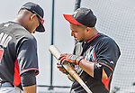 19 March 2015: Miami Marlins catcher Jhonatan Solano awaits his turn in the batting cage with his brother Donovan Solano prior to a Spring Training game against the Atlanta Braves at Champion Stadium in the ESPN Wide World of Sports Complex in Kissimmee, Florida. The Braves defeated the Marlins 6-3 in Grapefruit League play. Mandatory Credit: Ed Wolfstein Photo *** RAW (NEF) Image File Available ***