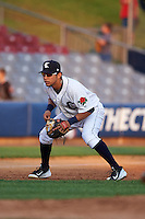 Connecticut Tigers third baseman Steven Fuentes (56) during the first game of a doubleheader against the Brooklyn Cyclones on September 2, 2015 at Senator Thomas J. Dodd Memorial Stadium in Norwich, Connecticut.  Brooklyn defeated Connecticut 7-1.  (Mike Janes/Four Seam Images)