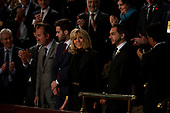 The first lady of France Bridgette Macron smiles as French President Emmanuel Macron delivers a joint address to the United States congress at the United States Capitol in Washington, DC on April 25, 2018. Credit: Alex Edelman / CNP