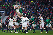17th March 2018, Twickenham, London, England; NatWest Six Nations rugby, England versus Ireland; George Kruis of England wins a line out