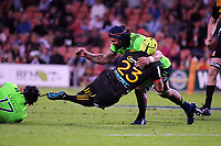 Jackson Hemapo (right) tackles Charlie Ngatai during the Super Rugby match between the Chiefs and Highlanders at FMG Stadium in Hamilton, New Zealand on Friday, 30 March 2018. Photo: Dave Lintott / lintottphoto.co.nz