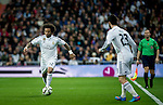 Real Madrid brazilian defender Marcelo and spanish forward Isco Alarcon during spanish league football match beetwen Real Madrid and Villarreal CF at the Santiago Bernabeu stadium in Madrid on march 01, 2015. Samuel de Roman / Photocall3000