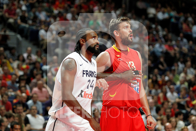 Spain´s Marc Gasol and France´s Ronny Turiaf during friendly match Spain vs France.July 10,2012.(ALTERPHOTOS/ARNEDO)