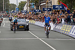 Elia Viviani (ITA) crosses the finish line to win ahead of Yves Lampaert (BEL) at the end of the Elite Men's Road Race during the 2019 UEC European Road Championships, Alkmaar, The Netherlands, 11 August 2019.<br /> <br /> Photo by Thomas van Bracht / PelotonPhotos.com | All photos usage must carry mandatory copyright credit (Peloton Photos | Thomas van Bracht)
