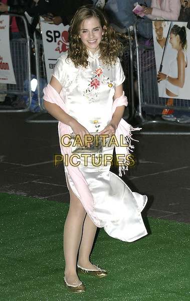 "EMMA WATSON.""Wimbledon"" premiere, Odeon Leicester Square London, September 20th 2004..full elngth white chinese style dress floral flowers gold ballet pumps shoes curly hair pink pashmina.Ref: AH.www.capitalpictures.com.sales@capitalpictures.com.©Capital Pictures."