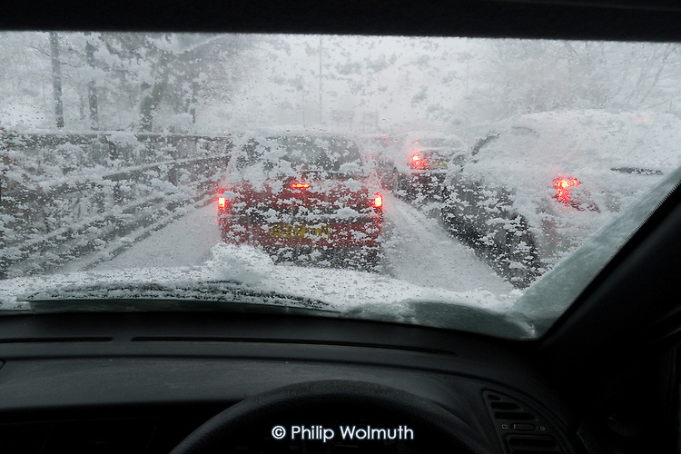 Heavy snow causes traffic jam at Brent Cross shopping centre, North London, on the Saturday before Christmas.