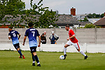 Ragnar the Viking, Yorkshire's mascot keeps his eye on the ball. Yorkshire v Parishes of Jersey, CONIFA Heritage Cup, Ingfield Stadium, Ossett. Yorkshire's first competitive game. The Yorkshire International Football Association was formed in 2017 and accepted by CONIFA in 2018. Their first competative fixture saw them host Parishes of Jersey in the Heritage Cup at Ingfield stadium in Ossett. Yorkshire won 1-0 with a 93 minute goal in front of 521 people.