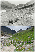 KLGO Photo Station CH-10 Long Hill, View to the north below the Scales on Long Hill on the Chilkoot Trail, Klondike Gold Rush National Historical Park, Alaska, United States. Upper photo taken 1897 by Frank La Roche (University of Washington Libraries, Special Collections, La Roche 2038). Lower photo taken August 20, 2013 by Ronald D. Karpilo Jr.