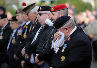 Pictured: An ex serviceman wipes away tears during the minute's silence Friday 11 November 2016<br /> Re: Remembrance Day service at Castle Square Gardens in Swansea, south Wales, UK.