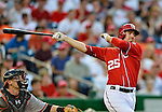 19 May 2012: Washington Nationals first baseman Adam LaRoche in action against the Baltimore Orioles at Nationals Park in Washington, DC. The Orioles defeated the Nationals 6-5 in the second game of their 3-game series. Mandatory Credit: Ed Wolfstein Photo