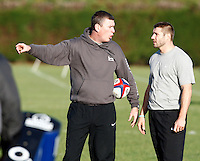 Photo: Richard Lane/Richard Lane Photography. Heroes Rugby Challenge in aid of Help for Heros North training at Wasps training ground, Twyford Avenue.  30/11/2011. Dean Ryan talks to Ben Cohen.