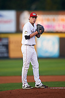 Tri-City ValleyCats pitcher Alex Winkelman (17) gets ready to deliver a pitch during a game against the Brooklyn Cyclones on September 1, 2015 at Joseph L. Bruno Stadium in Troy, New York.  Tri-City defeated Brooklyn 5-4.  (Mike Janes/Four Seam Images)