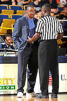28 January 2012:  FIU Head Coach Isiah Thomas discusses a call with an official in the second half as the Western Kentucky University Hilltoppers defeated the FIU Golden Panthers, 61-51, at the U.S. Century Bank Arena in Miami, Florida.