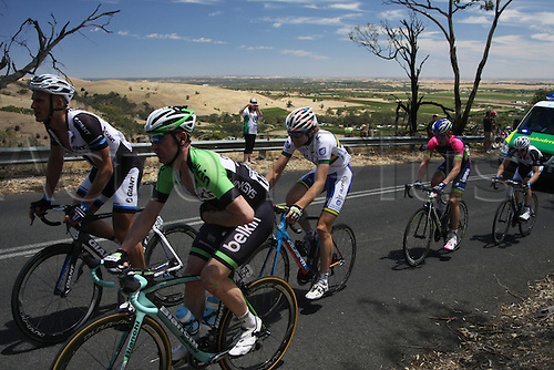 21.01.2014 Australia. David Tanner (Belkin) ascending Mengler Hill (near Angaston) in pain after breaking his collarbone in an earlier crash in Stage 1 of the Santos Tour Down Under 2014 from Nurioopta to Angaston.