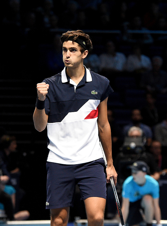Pierre-Hugues Herbert celebrating scoring a point against Oliver Marach and Mate Pavic <br /> <br /> Photographer Hannah Fountain/CameraSport<br /> <br /> International Tennis - Nitto ATP World Tour Finals Day 2 - O2 Arena - London - Monday 12th November 2018<br /> <br /> World Copyright © 2018 CameraSport. All rights reserved. 43 Linden Ave. Countesthorpe. Leicester. England. LE8 5PG - Tel: +44 (0) 116 277 4147 - admin@camerasport.com - www.camerasport.com