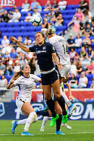 HARRISON, NJ - SEPTEMBER 29: Jen Hoy #7 of Sky Blue FC goes up for a header with Alanna Kennedy #14 of the Orlando Pride during a game between Orlando Pride and Sky Blue FC at Red Bull Arena on September 29, 2019 in Harrison, New Jersey.