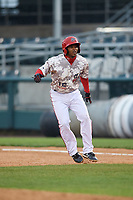 Harrisburg Senators second baseman Kayyan Norfork (15) leads off first base during the second game of a doubleheader against the New Hampshire Fisher Cats on May 13, 2018 at FNB Field in Harrisburg, Pennsylvania.  Harrisburg defeated New Hampshire 2-1.  (Mike Janes/Four Seam Images)