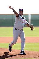 Former major league pitcher Chad Ogea pitches to campers during the Cleveland Indians Fantasy camp at the Goodyear Training Complex in Goodyear, Arizona;  January 18, 2011.  Photo By Mike Janes/Four Seam Images
