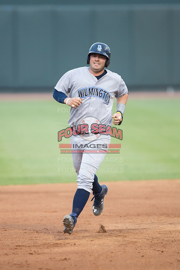 Cam Gallagher (35) of the Wilmington Blue Rocks rounds the bases after hitting a 2-run home run against the Winston-Salem Dash at BB&T Ballpark on June 10, 2015 in Winston-Salem, North Carolina.  The Blue Rocks defeated the Dash 11-5.  (Brian Westerholt/Four Seam Images)