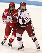Deziray De Sousa (BU - 8), Briana Mastel (Harvard - 17) - The Harvard University Crimson tied the Boston University Terriers 6-6 on Monday, February 7, 2017, in the Beanpot consolation game at Matthews Arena in Boston, Massachusetts.