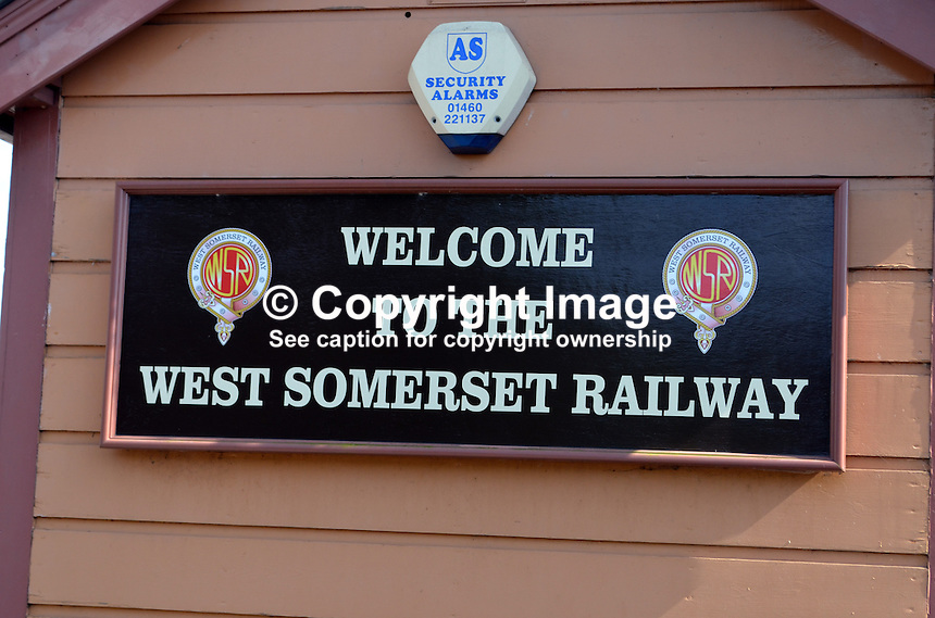 Logo, signage, welcome sign, Bishops Lydeard, West Somerset Railway, UK, July, 2014, 201407093443<br />