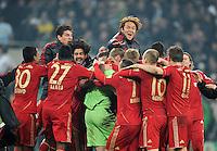 FUSSBALL   DFB POKAL   SAISON 2011/2012   HALBFINALE   21.03.2012 Borussia Moenchengladbach - FC Bayern Muenchen  SCHLUSSJUBEL FC Bayern Muenchen;  Takashi Usami (Mitte oben)