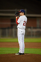 Auburn Doubledays relief pitcher Tanner Driskill (29) looks in for the sign during a game against the Hudson Valley Renegades on September 5, 2018 at Falcon Park in Auburn, New York.  Hudson Valley defeated Auburn 11-5.  (Mike Janes/Four Seam Images)