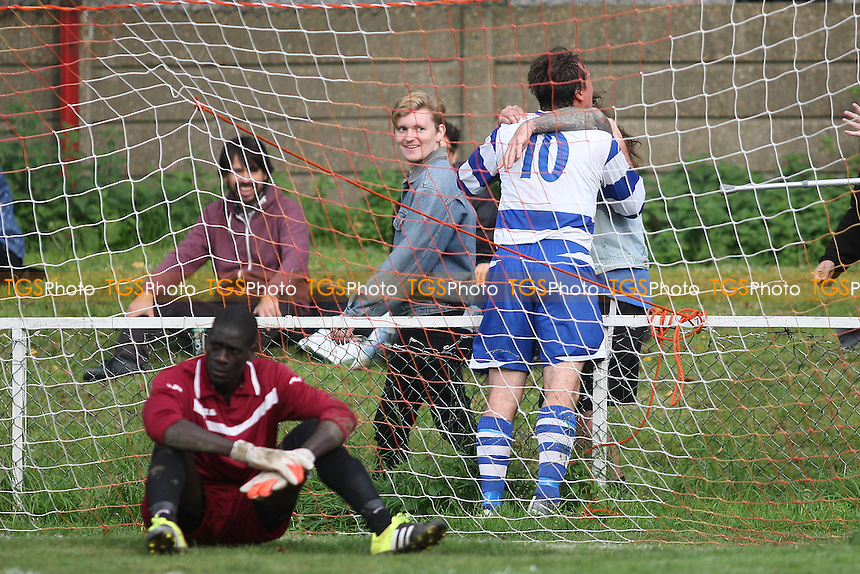 Chris Stevens of Ilford scores the second goal for his team and celebrates during Clapton vs Ilford, Essex Senior League Football at the Old Spotted Dog Ground, Forest Gate, England on 10/10/2015