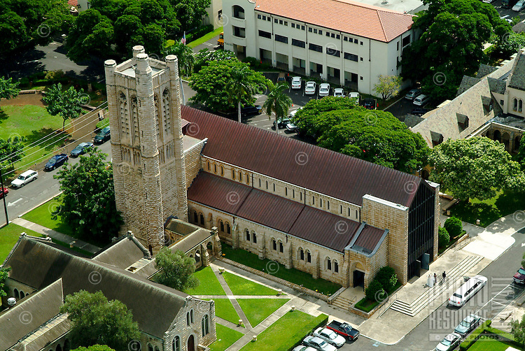 Aerial shot of historic St Andrews Cathedral in downtown Honolulu.
