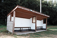 Dugout at Beccles Caxton FC Football Ground, Caxton Meadow, Beccles, Suffolk, pictured on 29th August 1995