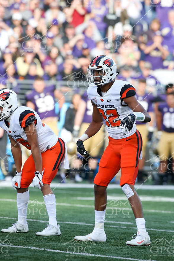 22 October 2016:   Oregon State's Seth Collins against Washington. Washington defeated Oregon State 41-17 at the University of Washington in Seattle, WA.