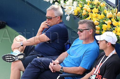 19.02.2014. Dubai, UAE.  Dubai Tennis Championships 2014,WTA Tennis Tournament,International Series, L-R. Piotr Wozniacki, father of Caroline Wozniacki (DEN) and her Trainer Michael Mortensen (DEN)
