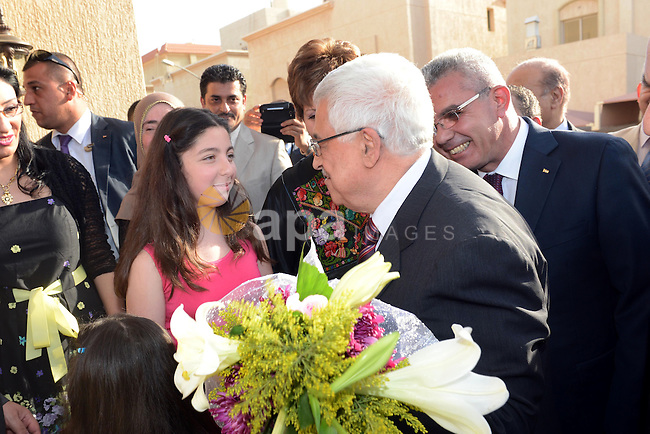 Palestinian President Mahmoud Abbas receives congratulations during the ceremony of inaugurate the Palestinian embassy in Kuwait on April 15, 2013. Abbas re-opened the Palestinian embassy in Kuwait since 22 years after it was shut down. Photo by Thaer Ganaim