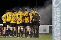 Yorkshire Carnegie players with vapours steaming off them during the Championship Cup match between London Scottish Football Club and Yorkshire Carnegie at Richmond Athletic Ground, Richmond, United Kingdom on 4 October 2019. Photo by Carlton Myrie / PRiME Media Images