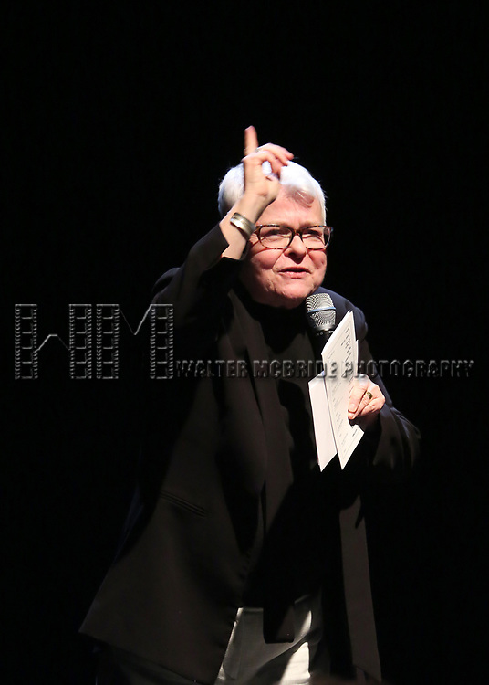 Paula Vogel on stage at the Vineyard Theatre 2017 Gala at the Edison Ballroom on March 14, 2017 in New York City.