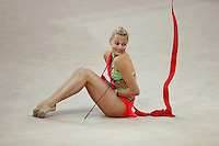 Nicol Ruprecht of Austria performs with ribbon (finish of routine) at 2009 Pesaro World Cup on May 1, 2009 at Pesaro, Italy.  Photo by Tom Theobald.