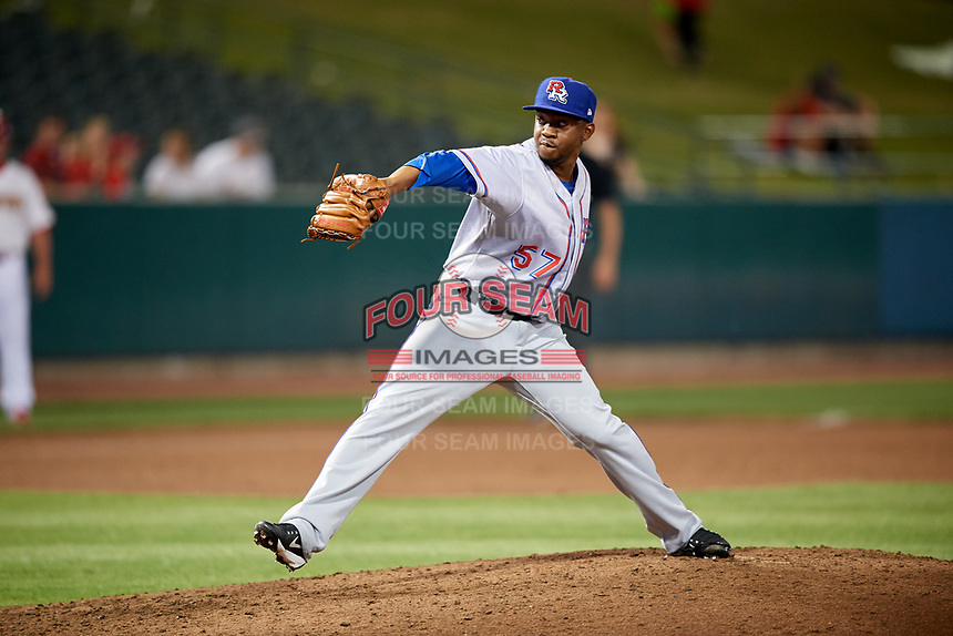 Round Rock Express relief pitcher Wesley Wright (57) delivers a pitch during a game against the Memphis Redbirds on April 28, 2017 at AutoZone Park in Memphis, Tennessee.  Memphis defeated Round Rock 9-1.  (Mike Janes/Four Seam Images)